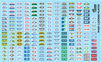 License Plates Model Car Kit Decal Sheet 1/24 1/25 Scale