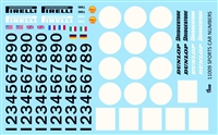 Gofer Racing Sports Car Numbers Decal Sheet 11009