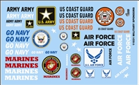 Armed Services Model Car Kit Decal Sheet 1/24 1/25 Scale
