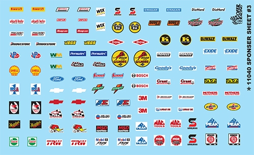 Contingency Sponsor Sheet 3 Decal Sheet Model Car Decals