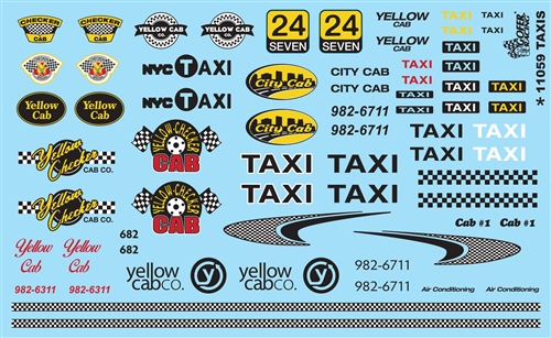 TAXIS Decal Sheet Model Car Decals 1/24 1/25 Scale Decals