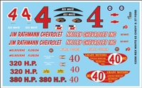 Rex White 1962 Chevrolet Model Decal Sheet
