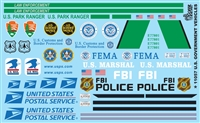 U.S. GOVERNMENT VEHICLES Model Car Decal Sheet